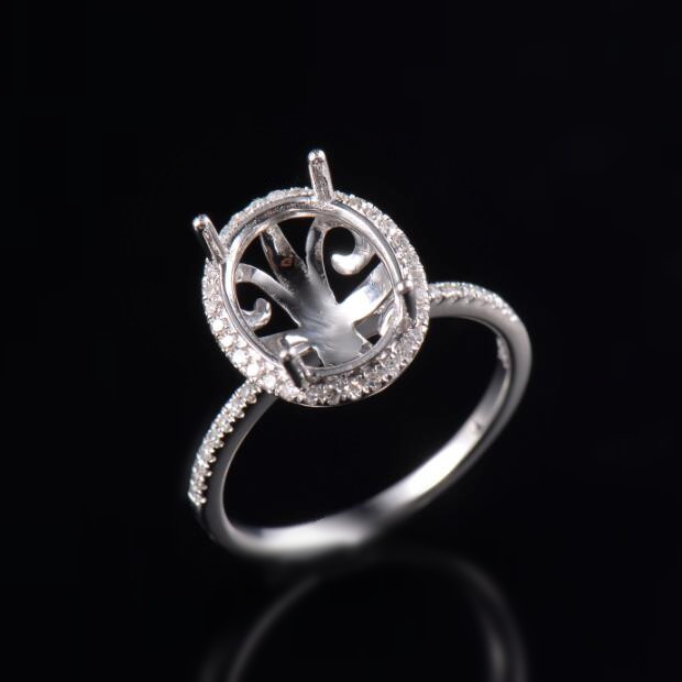 14d6bf18c1db3 Details about Natural Diamond Semi Mount Halo Engagement Ring Oval 9x11mm  Solid 14K White Gold