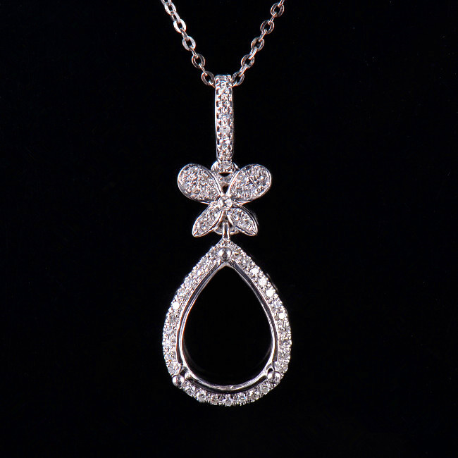 Natural diamond semi mount pendant settings pear cut 912mm solid 14k white gold natural diamond semi mount pendant settings aloadofball Images