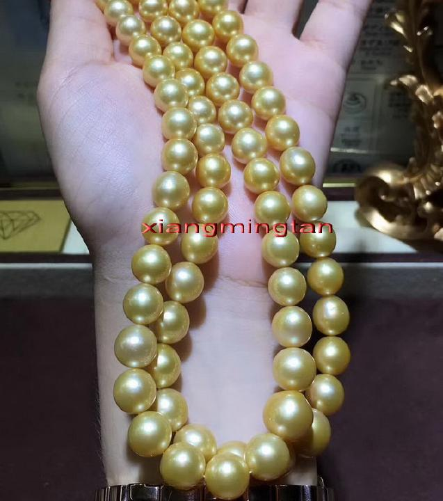 """AAAAA 20/""""10-11mm NATURAL REAL round South sea golden pearl necklace 14K gold"""