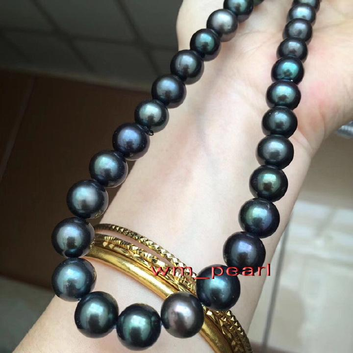 """On sale Natural 10-11mm Tahitian Black long gems beads Pearl Necklace  22/"""""""