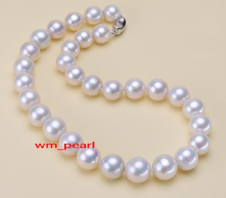 """charming AAA 18/""""10-11mm real natural south sea white pearl necklace gold CLASP"""