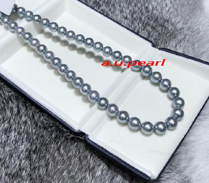 """round AAAAA 18/""""9-10mm REAL NATURAL south sea silver gray pearl necklace 14K"""